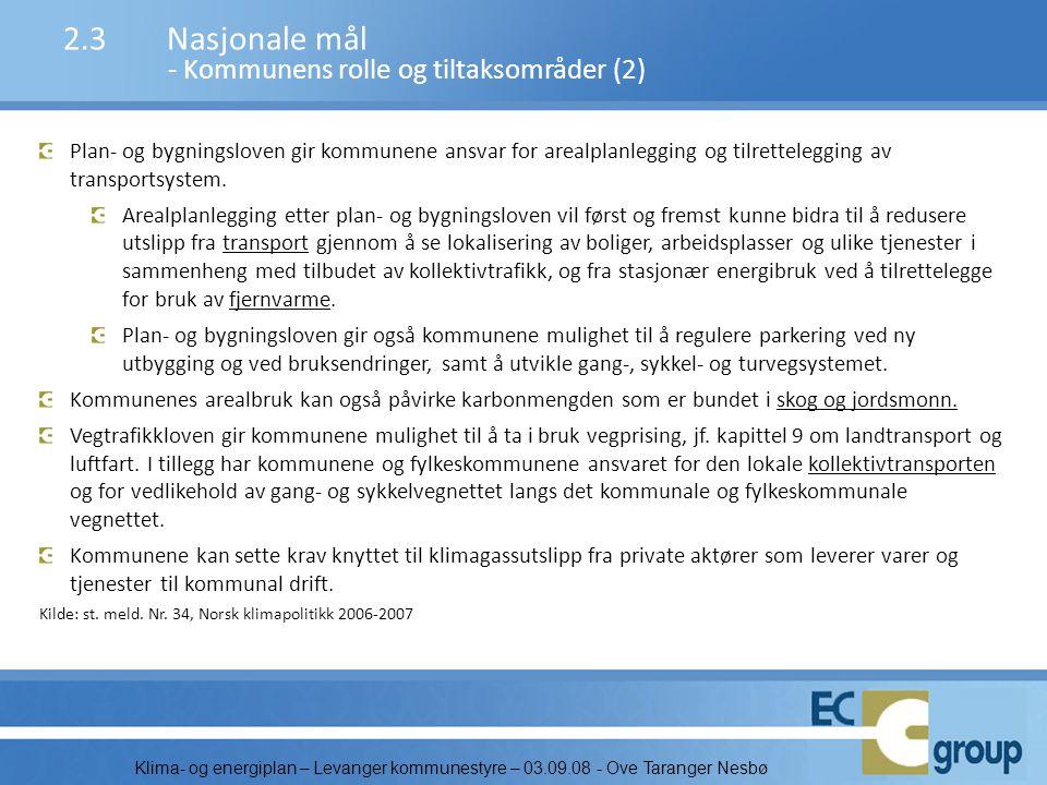 Klima- og energiplan – Levanger kommunestyre – 03.09.08 - Ove Taranger Nesbø CO2-ekvivalenter pr innbygger: Levanger har samme klimautslippene pr innb.