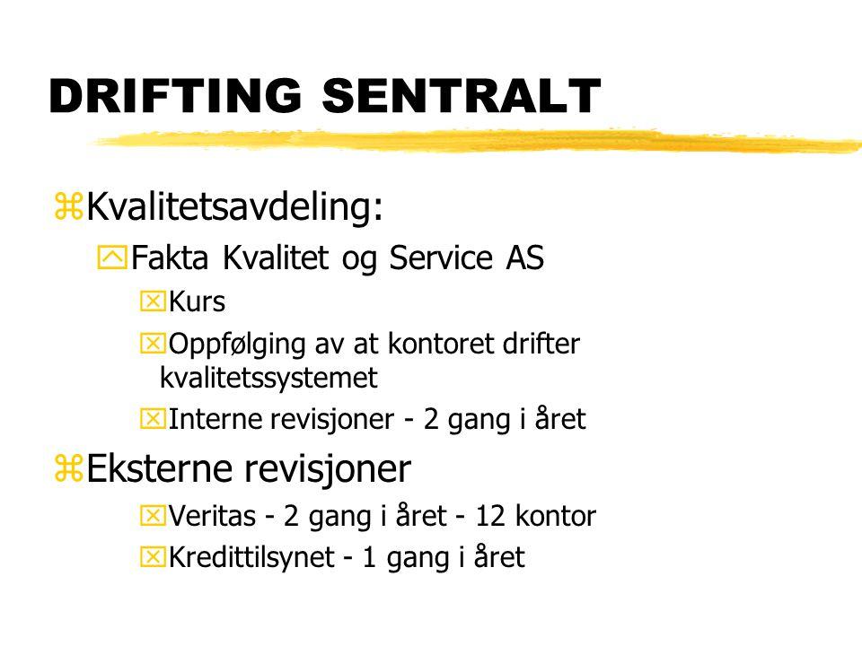 DRIFTING SENTRALT zKvalitetsavdeling: yFakta Kvalitet og Service AS xKurs xOppfølging av at kontoret drifter kvalitetssystemet xInterne revisjoner - 2