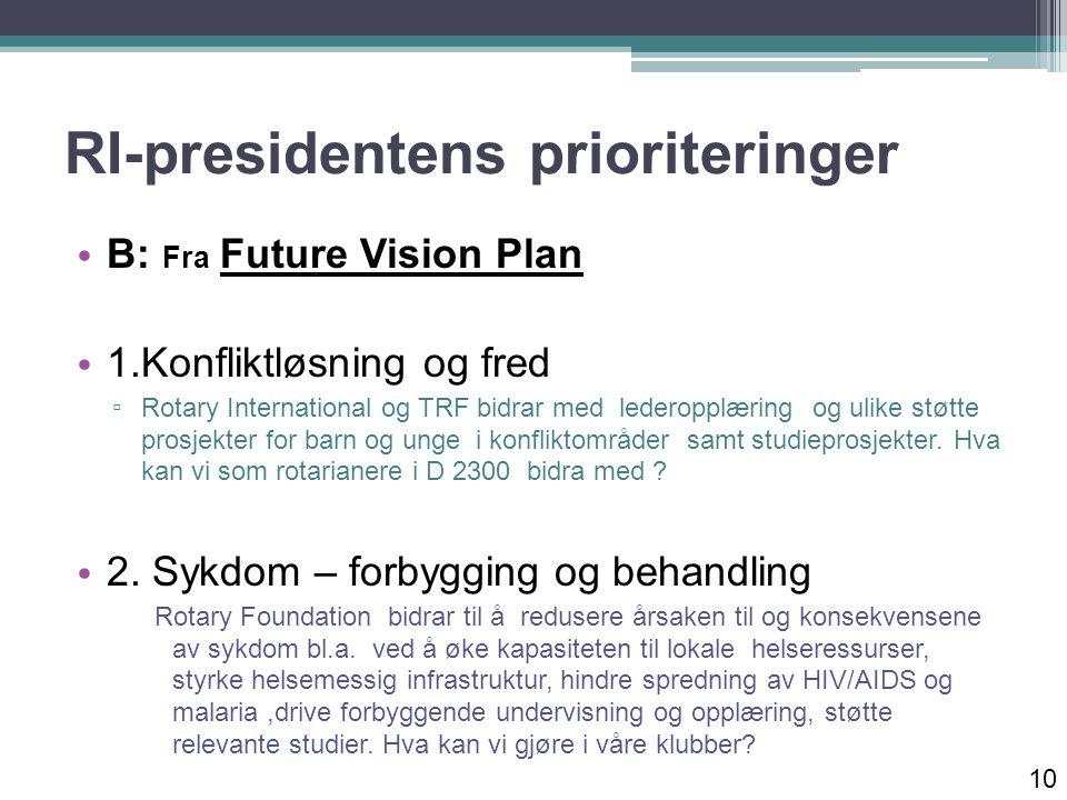 RI-presidentens prioriteringer B: Fra Future Vision Plan 1.Konfliktløsning og fred ▫ Rotary International og TRF bidrar med lederopplæring og ulike støtte prosjekter for barn og unge i konfliktområder samt studieprosjekter.