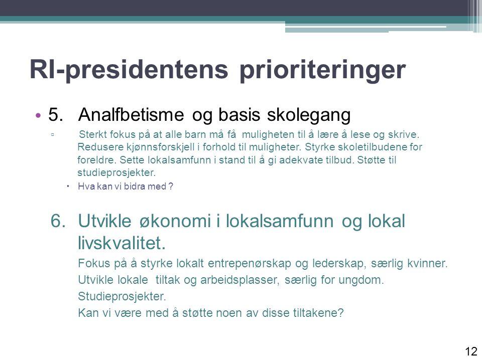 RI-presidentens prioriteringer 5.