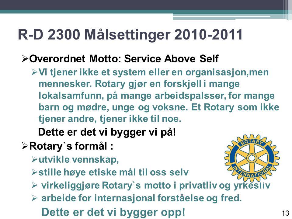 R-D 2300 Målsettinger 2010-2011  Overordnet Motto: Service Above Self  Vi tjener ikke et system eller en organisasjon,men mennesker.