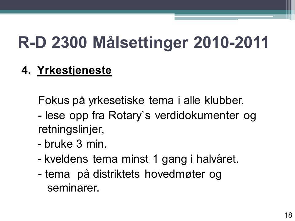 R-D 2300 Målsettinger 2010-2011 4. Yrkestjeneste Fokus på yrkesetiske tema i alle klubber.