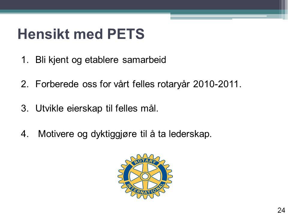 Hensikt med PETS 1.Bli kjent og etablere samarbeid 2.Forberede oss for vårt felles rotaryår 2010-2011.