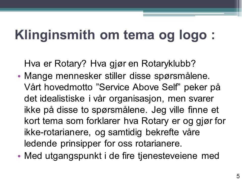 Klinginsmith om sitt tema: Klubbtjenste og Yrkestjeneste, Samfunnstjeneste og Internasjonal tjeneste, ønsker jeg å videreføre arbeidet med å gjøre verden et bedre sted å bo og arbeide.