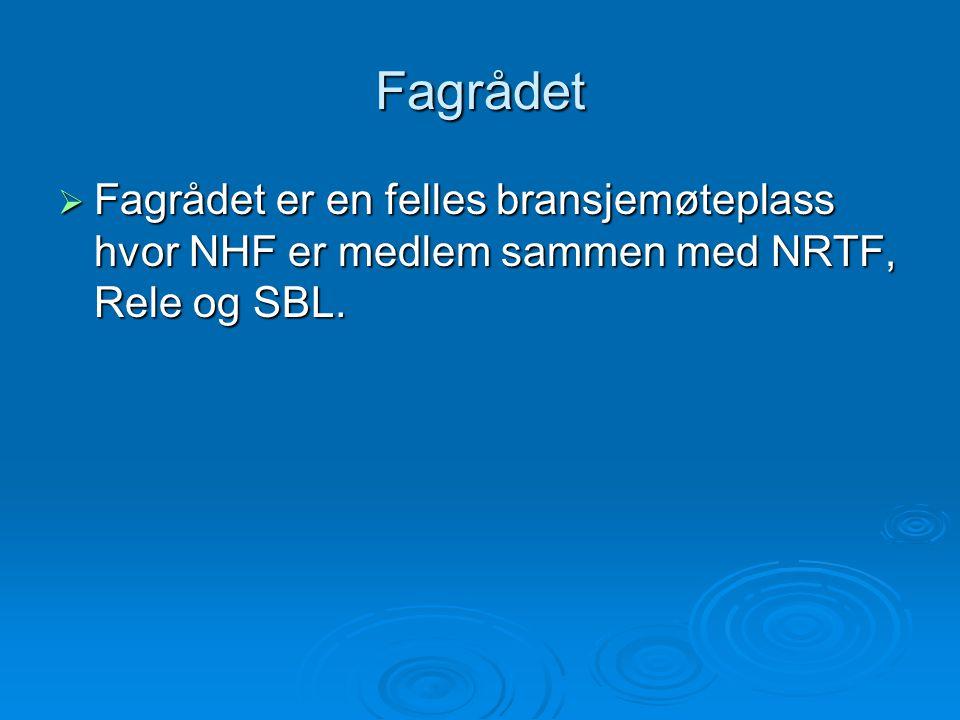 Fagrådet  Fagrådet er en felles bransjemøteplass hvor NHF er medlem sammen med NRTF, Rele og SBL.
