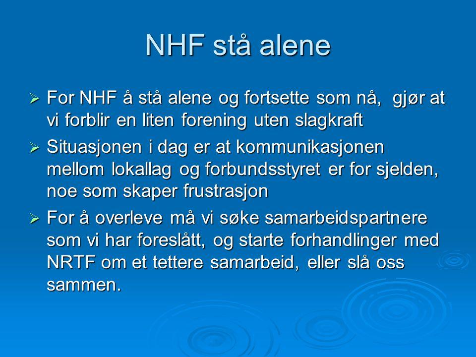 NHF stå alene  For NHF å stå alene og fortsette som nå, gjør at vi forblir en liten forening uten slagkraft  Situasjonen i dag er at kommunikasjonen mellom lokallag og forbundsstyret er for sjelden, noe som skaper frustrasjon  For å overleve må vi søke samarbeidspartnere som vi har foreslått, og starte forhandlinger med NRTF om et tettere samarbeid, eller slå oss sammen.
