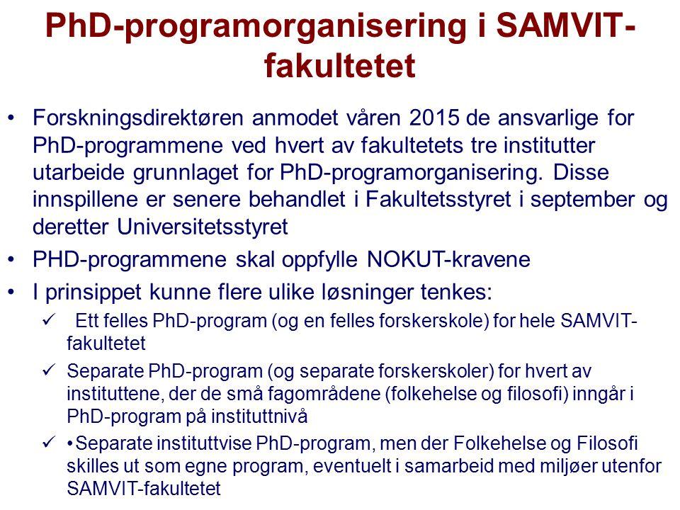 PhD-programorganisering i SAMVIT- fakultetet Forskningsdirektøren anmodet våren 2015 de ansvarlige for PhD-programmene ved hvert av fakultetets tre in