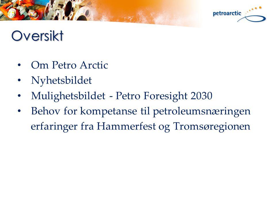 Om Petro Arctic Nyhetsbildet Mulighetsbildet - Petro Foresight 2030 Behov for kompetanse til petroleumsnæringen erfaringer fra Hammerfest og Tromsøregionen Oversikt