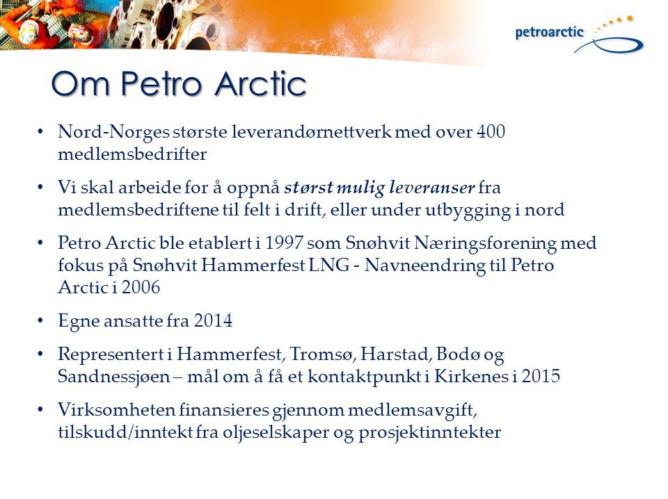 Om Petro Arctic Nord-Norges største leverandørnettverk med over 400 medlemsbedrifter Vi skal arbeide for å oppnå størst mulig leveranser fra medlemsbedriftene til felt i drift, eller under utbygging i nord Petro Arctic ble etablert i 1997 som Snøhvit Næringsforening med fokus på Snøhvit Hammerfest LNG - Navneendring til Petro Arctic i 2006 Egne ansatte fra 2014 Representert i Hammerfest, Tromsø, Harstad, Bodø og Sandnessjøen – mål om å få et kontaktpunkt i Kirkenes i 2015 Virksomheten finansieres gjennom medlemsavgift, tilskudd/inntekt fra oljeselskaper og prosjektinntekter