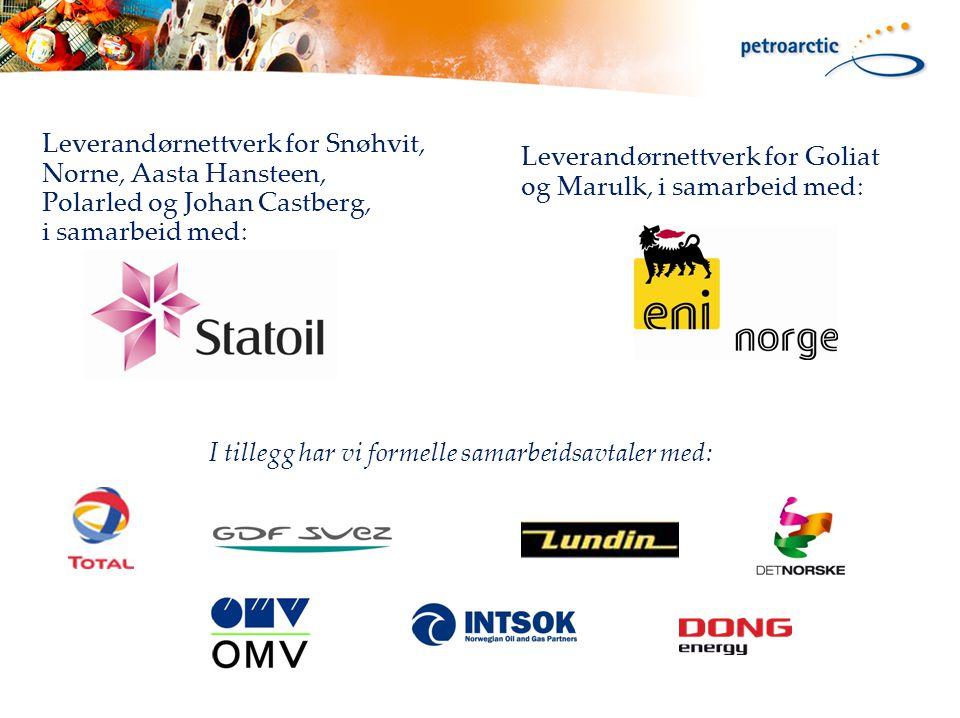 Leverandørnettverk for Snøhvit, Norne, Aasta Hansteen, Polarled og Johan Castberg, i samarbeid med: Leverandørnettverk for Goliat og Marulk, i samarbeid med: I tillegg har vi formelle samarbeidsavtaler med: