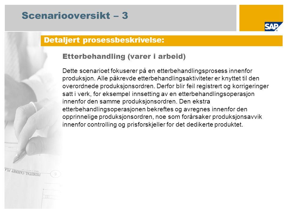 Prosessforløpsdiagram Etterbehandling (varer i arbeid) Produksjon Hendelse Finnes reklamasjon s-kvantum til kassasjon.