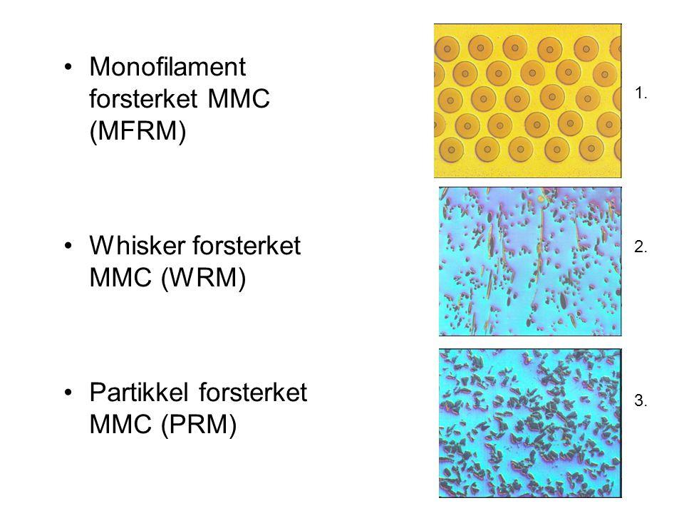 Monofilament forsterket MMC (MFRM) Whisker forsterket MMC (WRM) Partikkel forsterket MMC (PRM) 1. 2. 3.