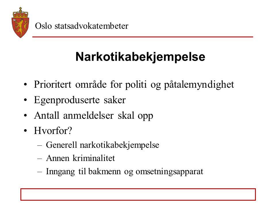Oslo statsadvokatembeter Narkotikabekjempelse Prioritert område for politi og påtalemyndighet Egenproduserte saker Antall anmeldelser skal opp Hvorfor.