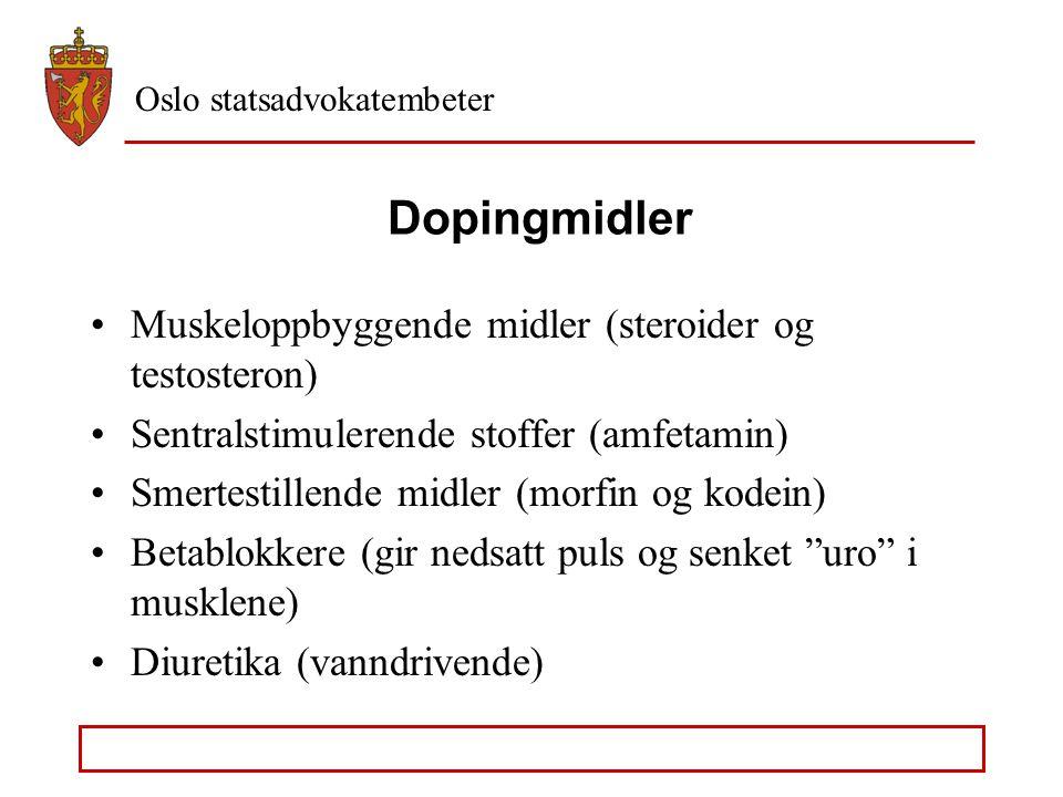 Oslo statsadvokatembeter Dopingmidler, strl. § 162b Først og fremst et problem innen idretten Behov for lovbeskyttelse av hensynet til like konkurrans