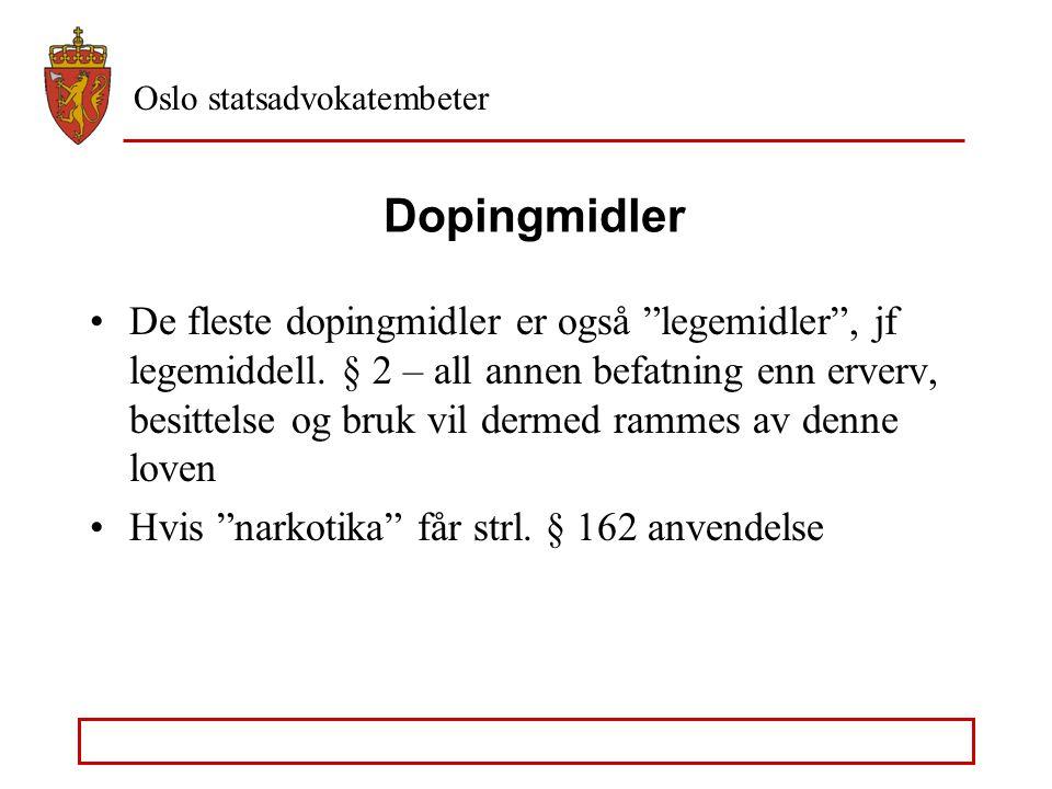 Oslo statsadvokatembeter Dopingmidler - bivirkninger Personlighetsforandringer Avhengighet Unormal celle- og organfunksjon Svekket immunforsvar Allerg