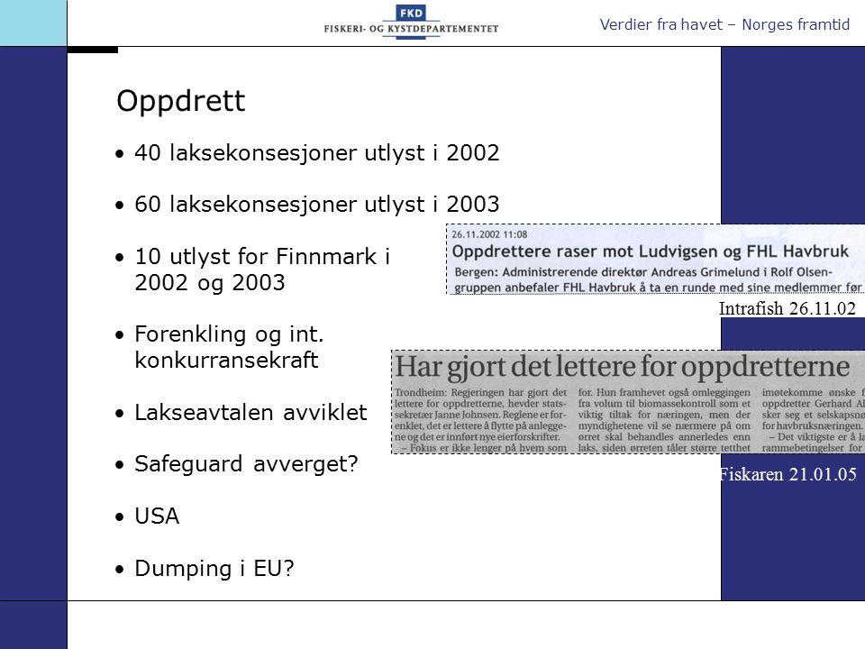 Verdier fra havet – Norges framtid 40 laksekonsesjoner utlyst i 2002 60 laksekonsesjoner utlyst i 2003 10 utlyst for Finnmark i 2002 og 2003 Forenkling og int.
