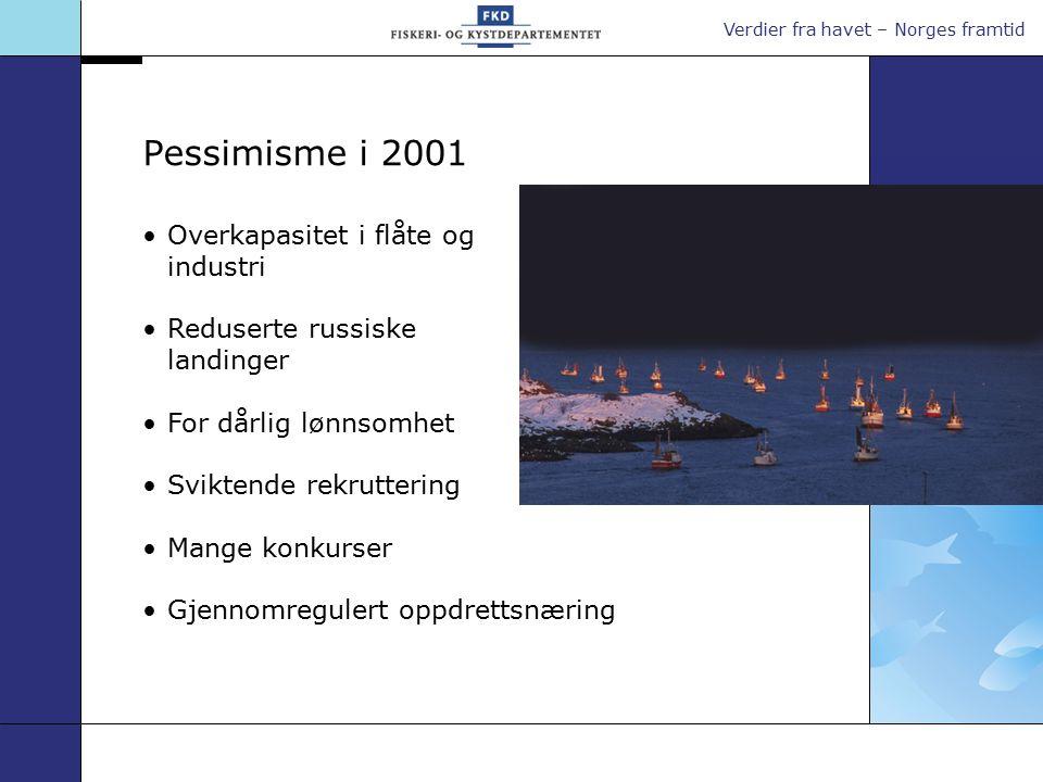 Verdier fra havet – Norges framtid Overkapasitet i flåte og industri Reduserte russiske landinger For dårlig lønnsomhet Sviktende rekruttering Mange konkurser Gjennomregulert oppdrettsnæring Pessimisme i 2001