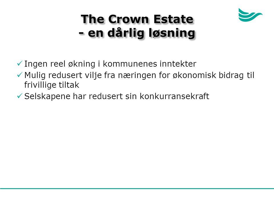 The Crown Estate - en dårlig løsning Ingen reel økning i kommunenes inntekter Mulig redusert vilje fra næringen for økonomisk bidrag til frivillige tiltak Selskapene har redusert sin konkurransekraft