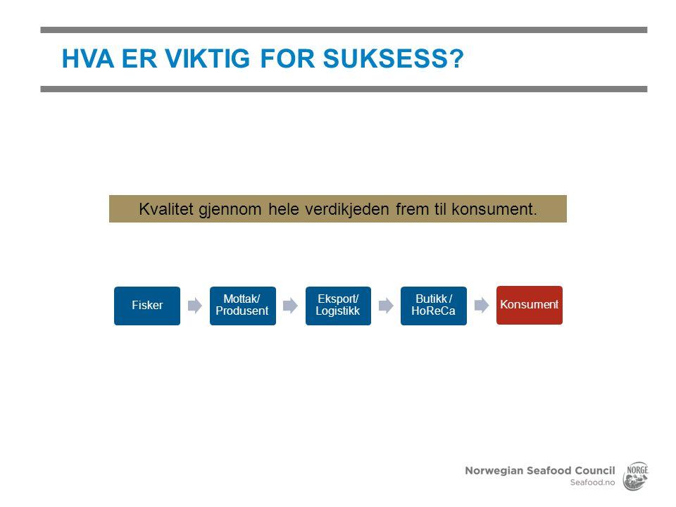 HVA ER VIKTIG FOR SUKSESS? Fisker Mottak/ Produsent Eksport/ Logistikk Butikk / HoReCa Konsument Kvalitet gjennom hele verdikjeden frem til konsument.