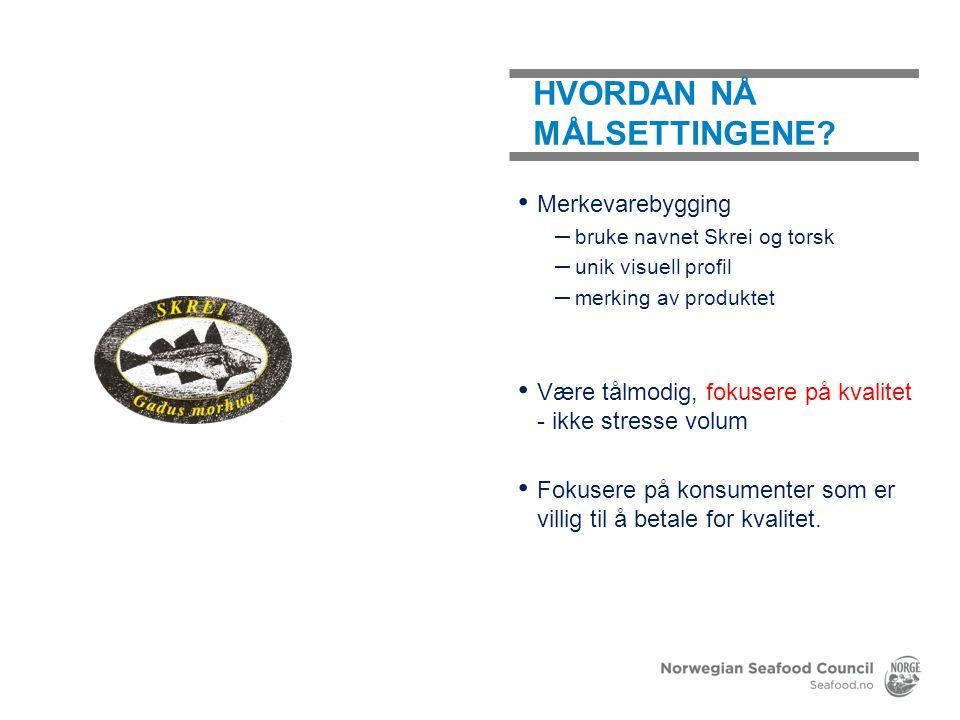 Merkevarebygging – bruke navnet Skrei og torsk – unik visuell profil – merking av produktet Være tålmodig, fokusere på kvalitet - ikke stresse volum F