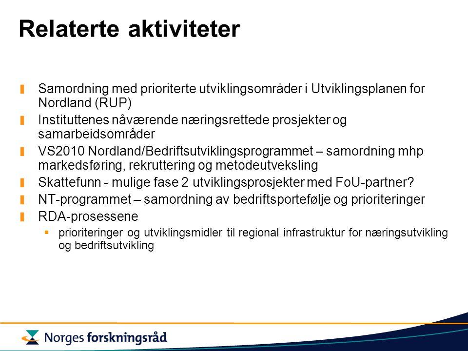 Relaterte aktiviteter Samordning med prioriterte utviklingsområder i Utviklingsplanen for Nordland (RUP) Instituttenes nåværende næringsrettede prosjekter og samarbeidsområder VS2010 Nordland/Bedriftsutviklingsprogrammet – samordning mhp markedsføring, rekruttering og metodeutveksling Skattefunn - mulige fase 2 utviklingsprosjekter med FoU-partner.