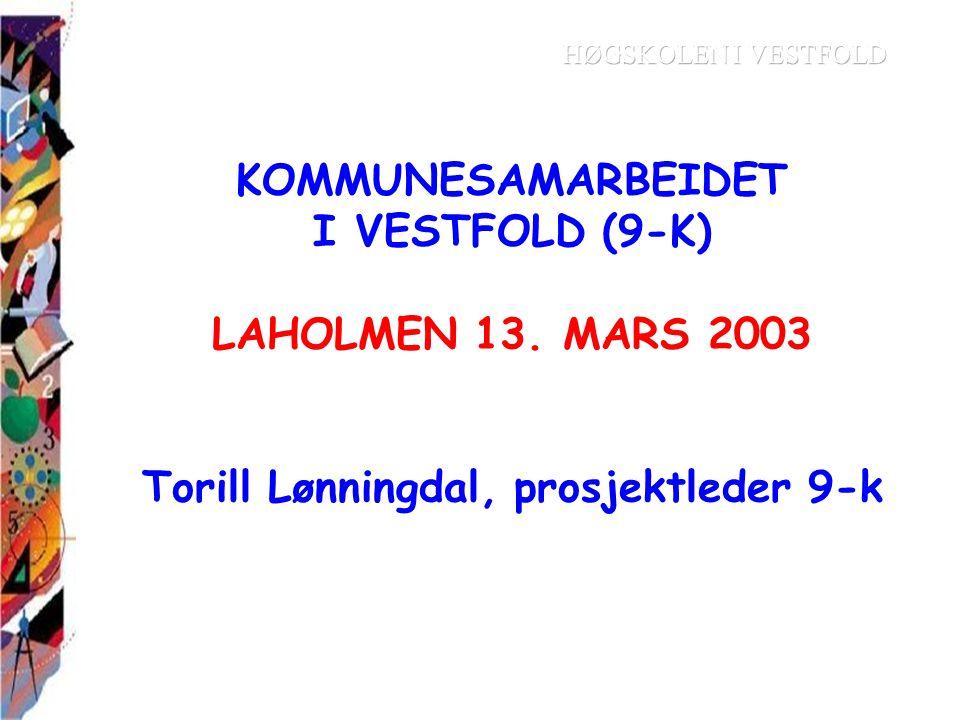 KOMMUNESAMARBEIDET I VESTFOLD (9-K) LAHOLMEN 13. MARS 2003 Torill Lønningdal, prosjektleder 9-k