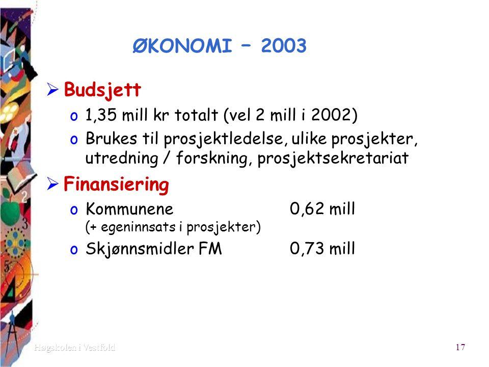 ØKONOMI – 2003  Budsjett o1,35 mill kr totalt (vel 2 mill i 2002) oBrukes til prosjektledelse, ulike prosjekter, utredning / forskning, prosjektsekretariat  Finansiering oKommunene 0,62 mill (+ egeninnsats i prosjekter) oSkjønnsmidler FM0,73 mill 17