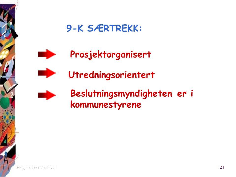 9-K SÆRTREKK: Prosjektorganisert Utredningsorientert Beslutningsmyndigheten er i kommunestyrene 21