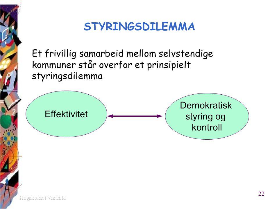 STYRINGSDILEMMA Et frivillig samarbeid mellom selvstendige kommuner står overfor et prinsipielt styringsdilemma Effektivitet Demokratisk styring og kontroll 22