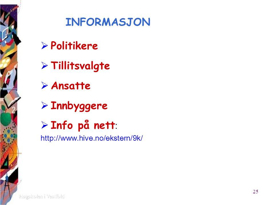 INFORMASJON  Politikere  Tillitsvalgte  Ansatte  Innbyggere  Info på nett : http://www.hive.no/ekstern/9k/ 25