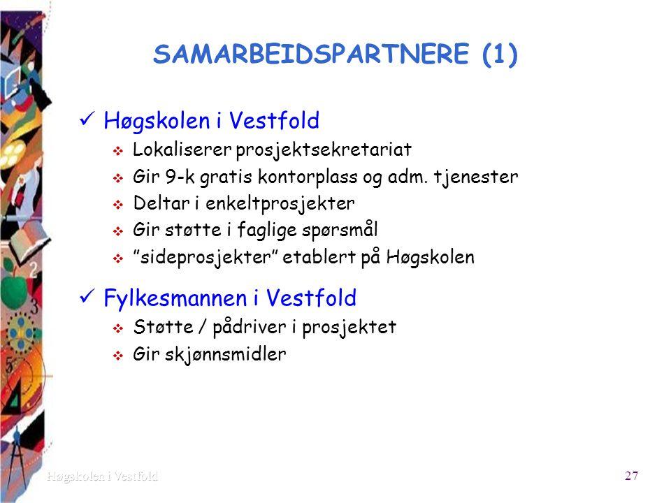 SAMARBEIDSPARTNERE (1) Høgskolen i Vestfold  Lokaliserer prosjektsekretariat  Gir 9-k gratis kontorplass og adm.