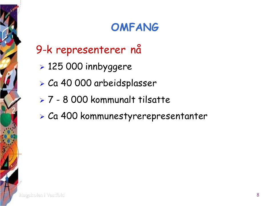 OMFANG 9-k representerer nå  125 000 innbyggere  Ca 40 000 arbeidsplasser  7 - 8 000 kommunalt tilsatte  Ca 400 kommunestyrerepresentanter 8