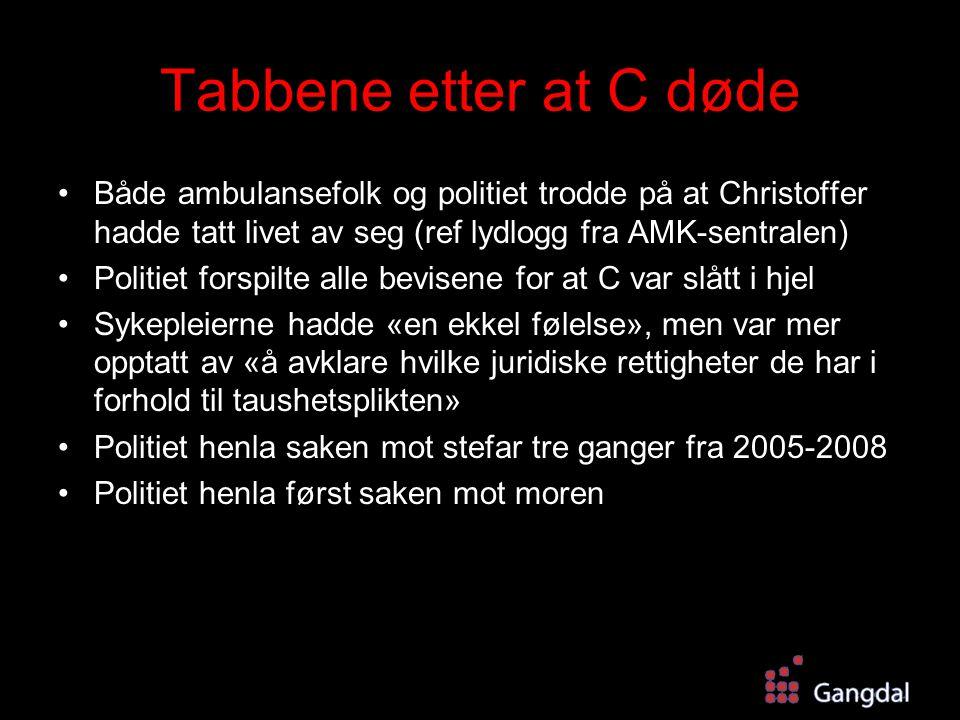 Tabbene etter at C døde Både ambulansefolk og politiet trodde på at Christoffer hadde tatt livet av seg (ref lydlogg fra AMK-sentralen) Politiet forsp