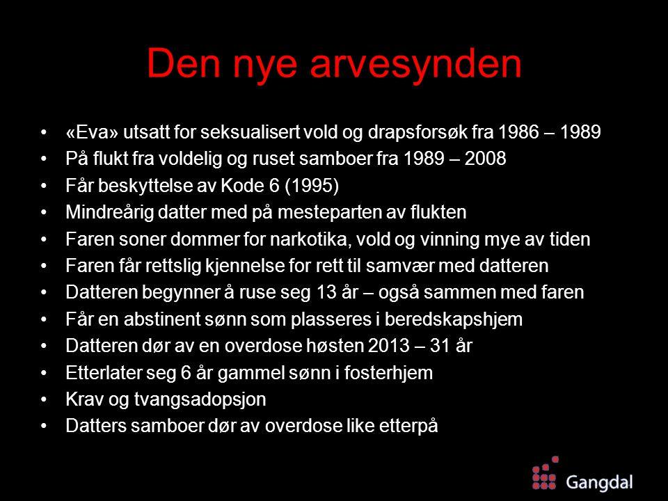 Den nye arvesynden «Eva» utsatt for seksualisert vold og drapsforsøk fra 1986 – 1989 På flukt fra voldelig og ruset samboer fra 1989 – 2008 Får beskyt
