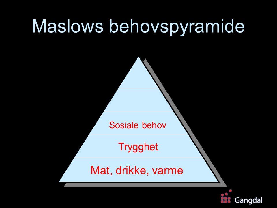 Maslows behovspyramide Mat, drikke, varme Trygghet Sosiale behov