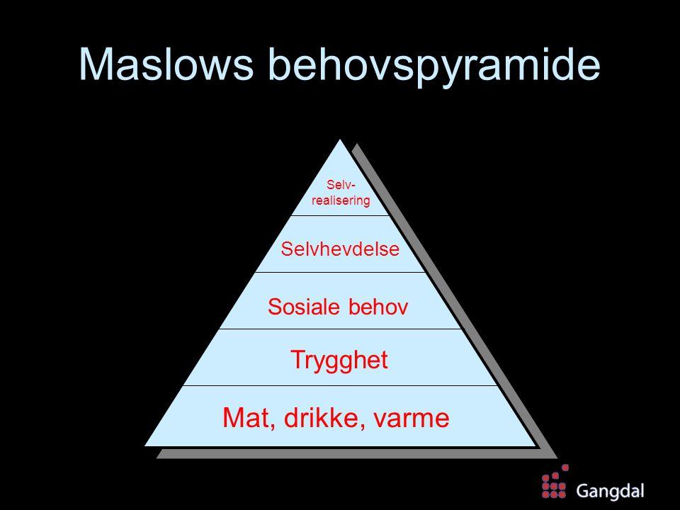 Maslows behovspyramide Mat, drikke, varme Trygghet Sosiale behov Selvhevdelse Selv- realisering