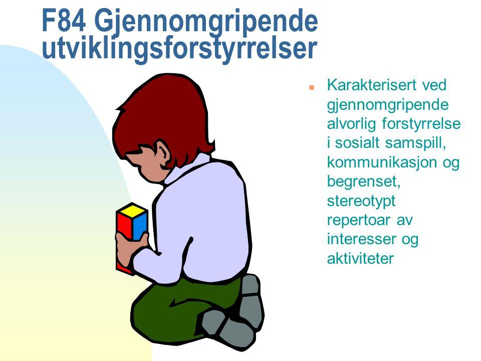 F84 Gjennomgripende utviklingsforstyrrelser n 84.0 Barneautisme n 84.1 Atypisk autisme n 84.2 Retts syndrom n 84.5 Aspergers syndrom