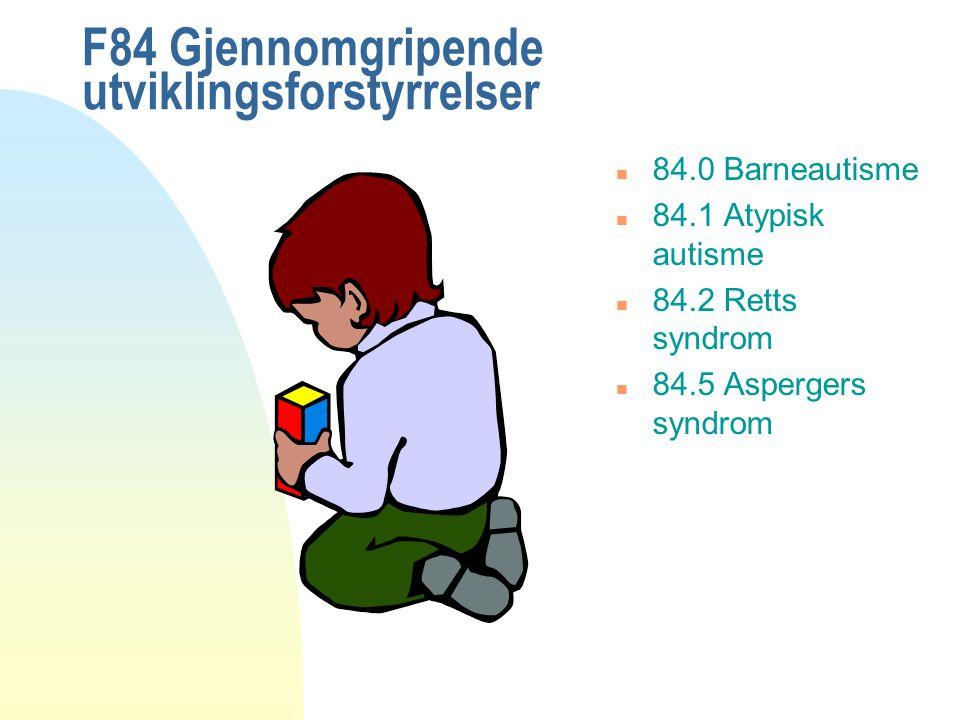 Tanya Ryder, Psy.D Diagnostisk kriterier - autisme n Abnormal og / eller forstyrret utvikling innen 3 års alder innenfor alle disse 3 områdene: u kommunikasjon u sosialt samspill u begrenset, repetetiv atferd.