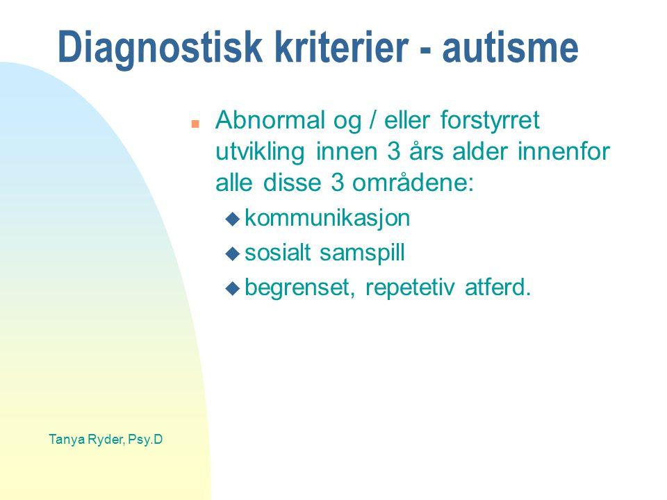 Tanya Ryder, Psy.D Diagnostisk kriterier - autisme n Abnormal og / eller forstyrret utvikling innen 3 års alder innenfor alle disse 3 områdene: u komm