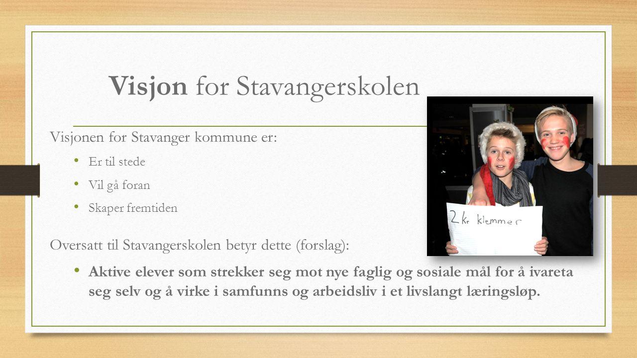 Visjon for Stavangerskolen Visjonen for Stavanger kommune er: Er til stede Vil gå foran Skaper fremtiden Oversatt til Stavangerskolen betyr dette (for