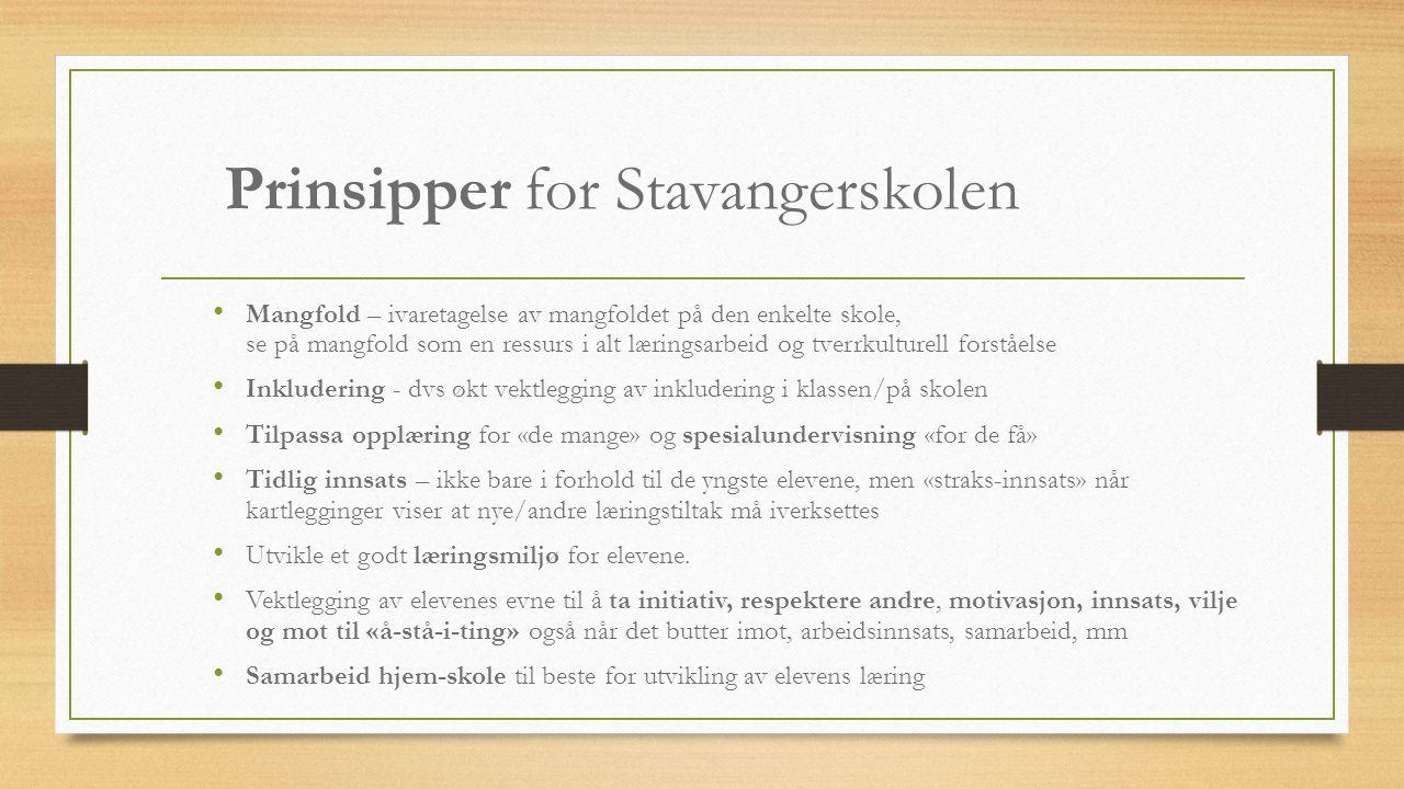 Prinsipper for Stavangerskolen Mangfold – ivaretagelse av mangfoldet på den enkelte skole, se på mangfold som en ressurs i alt læringsarbeid og tverrk