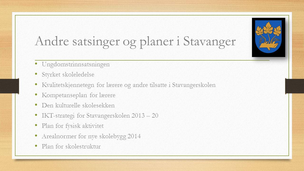Andre satsinger og planer i Stavanger Ungdomstrinnsatsningen Styrket skoleledelse Kvalitetskjennetegn for lærere og andre tilsatte i Stavangerskolen K