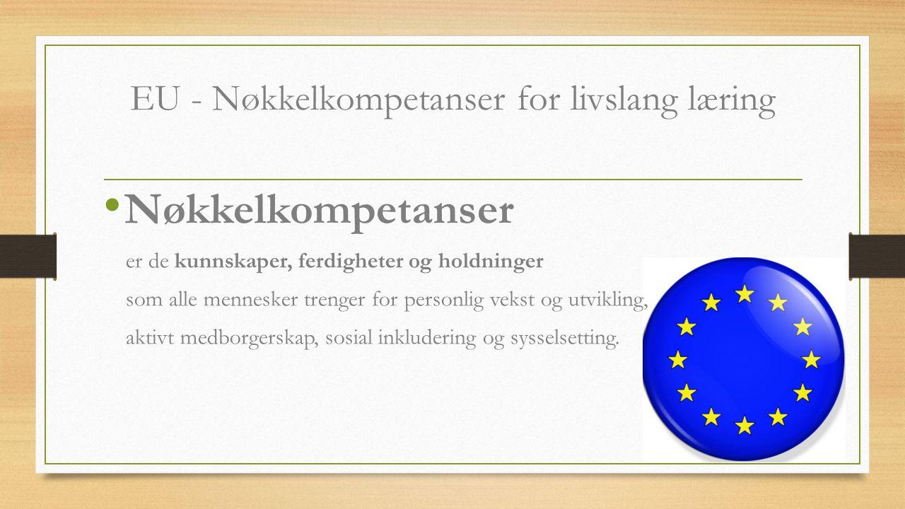 EU - Nøkkelkompetanser for livslang læring Nøkkelkompetanser er de kunnskaper, ferdigheter og holdninger som alle mennesker trenger for personlig veks