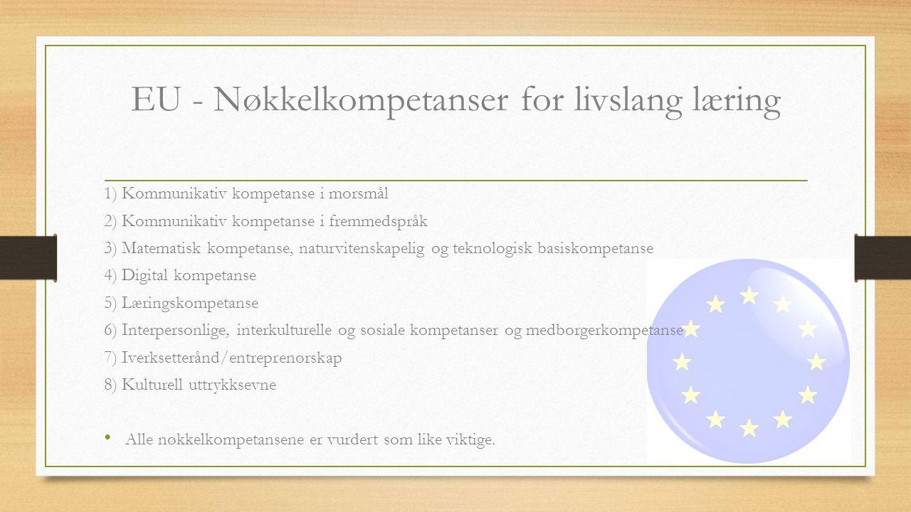 EU - Nøkkelkompetanser for livslang læring 1) Kommunikativ kompetanse i morsmål 2) Kommunikativ kompetanse i fremmedspråk 3) Matematisk kompetanse, na