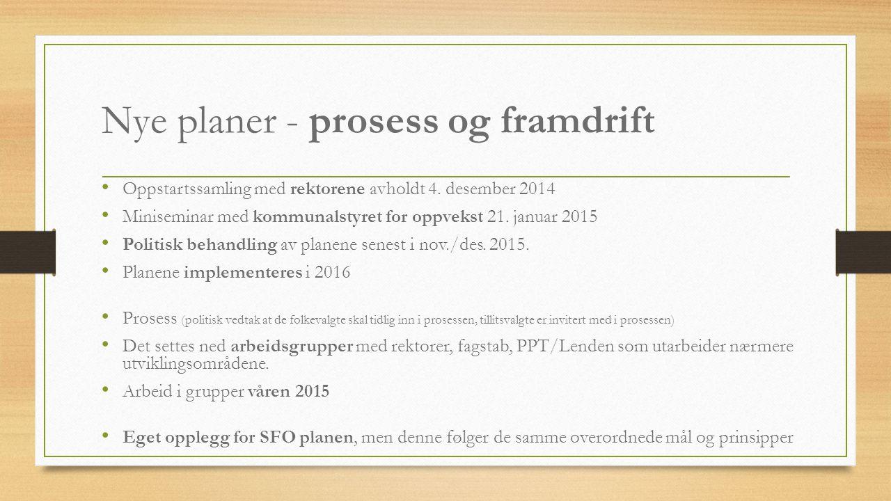 Nye planer - prosess og framdrift Oppstartssamling med rektorene avholdt 4. desember 2014 Miniseminar med kommunalstyret for oppvekst 21. januar 2015