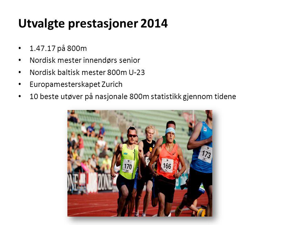 Utvalgte prestasjoner 2014 1.47.17 på 800m Nordisk mester innendørs senior Nordisk baltisk mester 800m U-23 Europamesterskapet Zurich 10 beste utøver på nasjonale 800m statistikk gjennom tidene