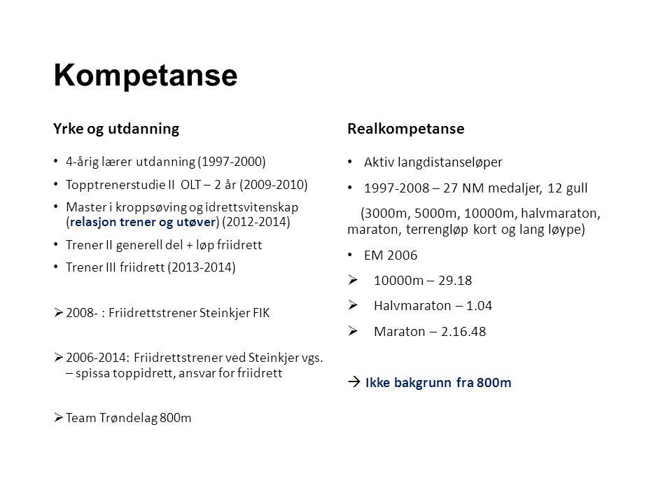 Kompetanse Yrke og utdanning 4-årig lærer utdanning (1997-2000) Topptrenerstudie II OLT – 2 år (2009-2010) Master i kroppsøving og idrettsvitenskap (relasjon trener og utøver) (2012-2014) Trener II generell del + løp friidrett Trener III friidrett (2013-2014)  2008- : Friidrettstrener Steinkjer FIK  2006-2014: Friidrettstrener ved Steinkjer vgs.