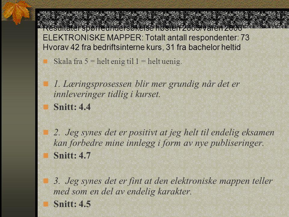 Resultater spørreundersøkelse høsten 2005/våren 2006 ELEKTRONISKE MAPPER: Totalt antall respondenter: 73 Hvorav 42 fra bedriftsinterne kurs, 31 fra ba