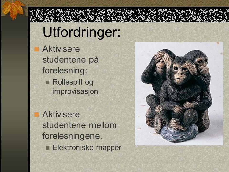 Utfordringer: Aktivisere studentene på forelesning: Rollespill og improvisasjon Aktivisere studentene mellom forelesningene. Elektroniske mapper