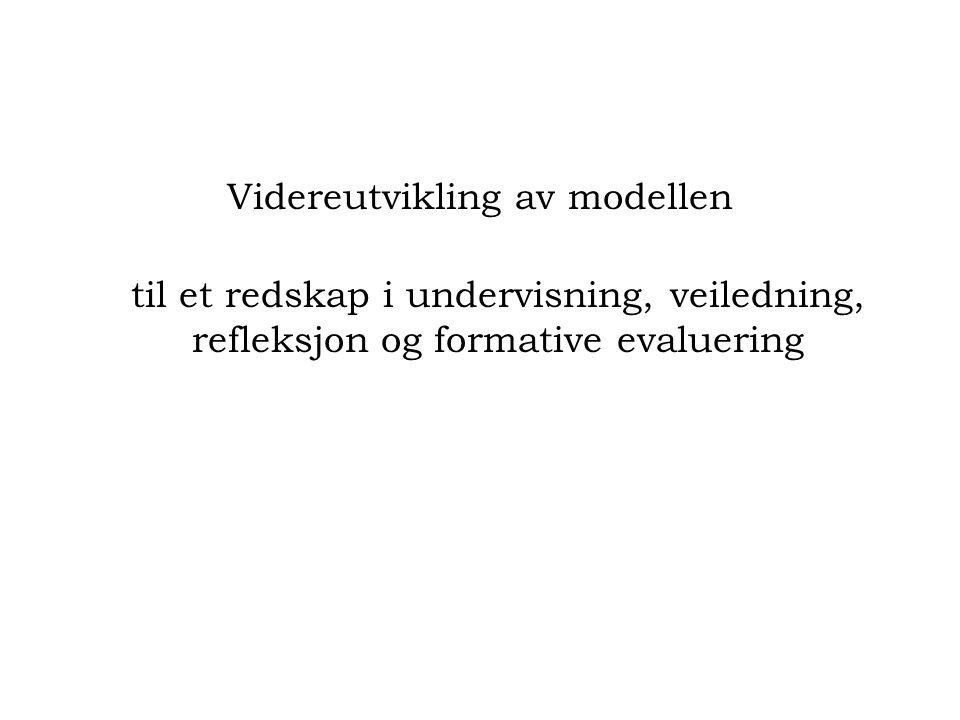 Videreutvikling av modellen til et redskap i undervisning, veiledning, refleksjon og formative evaluering